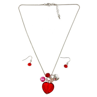 Valentine Necklace - Red Crystal Heart with Lock Charms Necklace and Earrings Set - Handmade - NE3011A