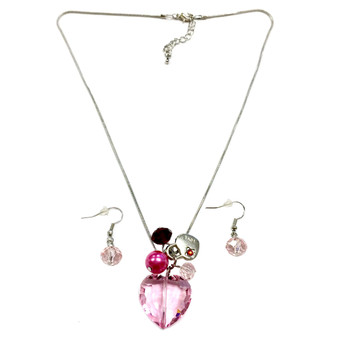Valentine Necklace - Pink Crystal Heart with Lock Charms Necklace and Earrings Set - Handmade - NE3011B