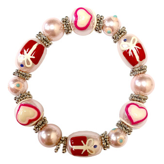 Valentine Bracelet - Pink Heart and Gift Bracelet -Glass Beaded Bracelet - Hand painted - IUP026