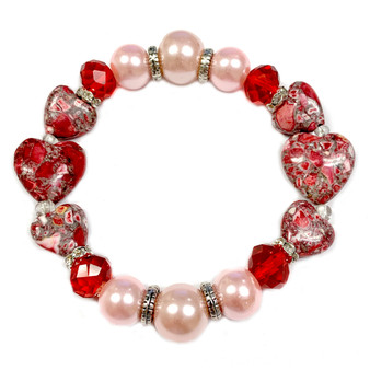 The Love Bracelet -  Heart Bracelet - Beaded Bracelets for Women - Gifts for Her Valentines Day - Red and Pink - Fiona - PUP176