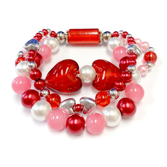 The Love Bracelet -  Heart Bracelet - Beaded Bracelets for Women - Gifts for Her Valentines Day - Glass Beads - Red - Fiona -  BR2637A
