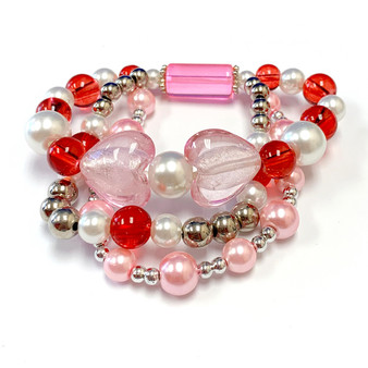 The Love Bracelet -  Heart Bracelet - Beaded Bracelets for Women - Gifts for Her Valentines Day - Glass Beads - Pink - Fiona -  BR2637B