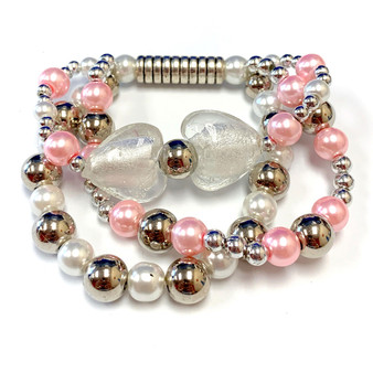 The Love Bracelet -  Heart Bracelet - Beaded Bracelets for Women - Gifts for Her Valentines Day - Glass Beads - White - Fiona -  BR2637C