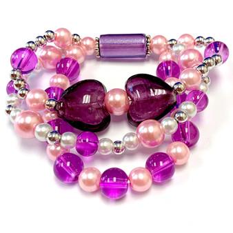 The Love Bracelet -  Heart Bracelet - Beaded Bracelets for Women - Gifts for Her Valentines Day - Glass Beads - Purple - Fiona -  BR2637D