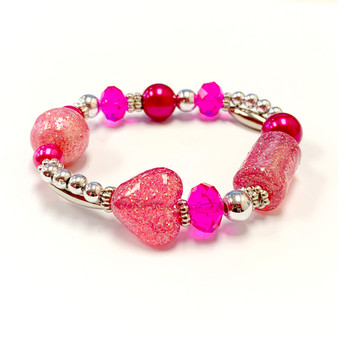 The Love Bracelet -  Heart Bracelet - Beaded Bracelets for Women - Gifts for Her Valentines Day - Glass Beads - Pink - Fuchsia - Fiona -  BR2514J