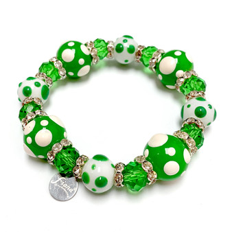 St Patrick's Day Bracelet - Green Polka Dots Glass Beaded Stretch Bracelet for Women - Fiona - PD03