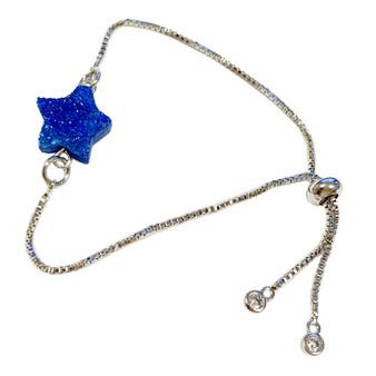 Blue Star Quartz Druzy Stone Bolo Bracelet -  Silver Plated Slider Bracelets - Natural Gemstone Bracelet - Birthday Mom Gifts - Fiona - BR3064C
