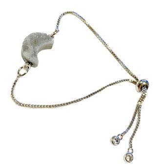 Gray Crescent Moon Druzy Bracelet -  Natural Gemstone Bolo Bracelet -  Sliver Plated Slider Bracelets - Birthday Mom Gifts - Fiona -  BR3603B