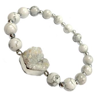 White Howlite Druzy Stone Bracelet - Natural  Stone Beads Bracelet for Women - Best Birthday Gift for Her - Fiona -  BR3088E