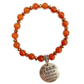 Carnelian Stone Bracelet - Team Charm Bracelet - Stone Beads Bracelet for Women - Fiona - BR3099B