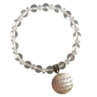 8mm Crystal Stone Bracelet - God has you in his hands Charm Bracelet - Stone Beads Bracelet for Women - Fiona - BR3099E