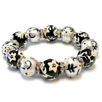 Black and Silver Flower Bracelet -  Jewellery for Women Bracelet - Handmade Glass Beaded Bracelet  for Women - Fiona -  BR1244