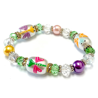 Dragonfly Bracelet -  Spring Jewelry for Daughter - Handmade Glass Beaded Bracelet  for Girlfriend  - Fiona -  BR2420L