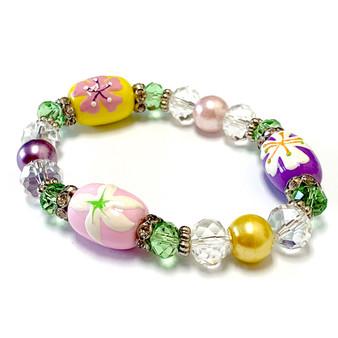 Cherry Blossom Bracelet -  White Lily Bracelet - Spring Jewelry for Daughter - Handmade Glass Beaded Bracelet  for Girlfriend  - Fiona -  BR2420M