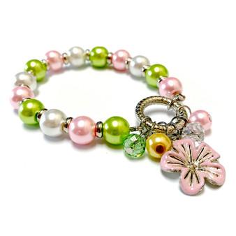 Cherry Blossom Charm Flower Bracelet - Spring Jewelry for Daughter - Handmade Glass Beaded Bracelet  for Girlfriend  - Fiona -  BR2473A