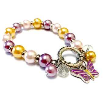 Purple Butterfly Charm Bracelet - Spring Jewelry for Daughter - Handmade Glass Beaded Bracelet  for Girlfriend  - Fiona -  BR2473C