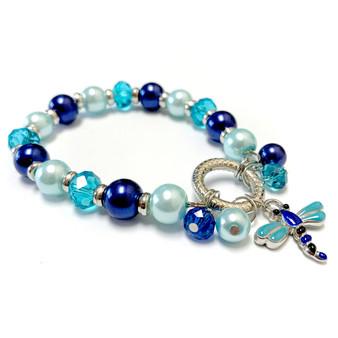 Blue Dragonfly Charm Bracelet - Spring Jewelry for Daughter - Handmade Glass Beaded Bracelet  for Girlfriend  - Fiona -  BR2473F