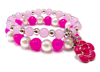 Fuchsia Rose Charm Bracelet - Spring Jewelry for Daughter - Handmade Glass Beaded Bracelet  for Girlfriend  - Fiona -  BR2614A