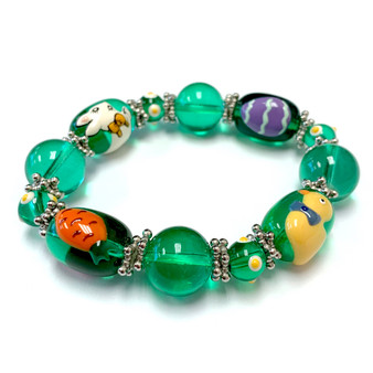 Green Easter Egg Rabbit Carrot Duck Bracelet for Girls  - Easter Jewelry for Daughter - Handmade Glass Beaded Bracelet - Fiona - IUP284