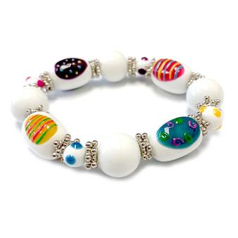 White Easter Egg Bracelet for Girls  - Easter Jewelry for Daughter - Handmade Glass Beaded Bracelet - Fiona - IUP285