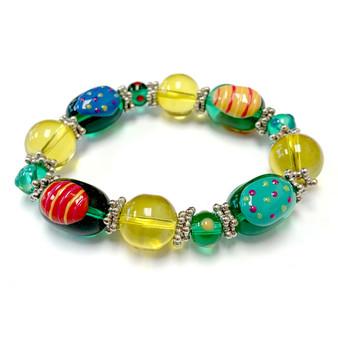 Green Yellow Easter Egg Bracelet for Girls  - Easter Jewelry for Daughter - Handmade Glass Beaded Bracelet - Fiona - IUP286