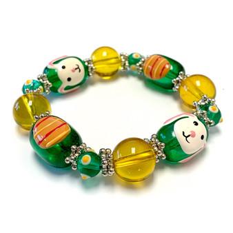 Green Yellow Easter Bunny Egg Bracelet for Girls  - Easter Jewelry for Daughter - Handmade Glass Beaded Bracelet - Fiona - BR1485