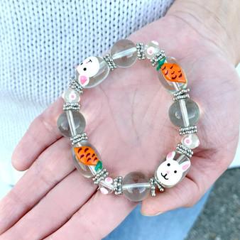 Easter Bunny Carrot Bracelet for Girls  - Easter Jewelry for Daughter - Handmade Glass Beaded Bracelet - Fiona - BR1486