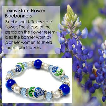 Texas State Bluebonnets Flower Bracelet - Flower Girl Bracelet - Texas Jewelry for Women - Handmade Glass Beaded Bracelet - Fiona -  BR2674
