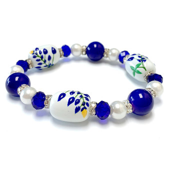 Blue Texas State Bluebonnets Flower Bracelet - Flower Girl Bracelet - Texas Jewelry for Women - Handmade Glass Beaded Bracelet - Fiona -  BR2990