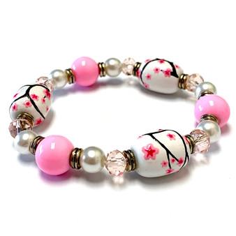 Pink Cherry Blossom Flower Bracelet - Flower Girl Bracelet - Spring Jewelry for Women - Handmade Glass Beaded Bracelet - Fiona -  BR3027