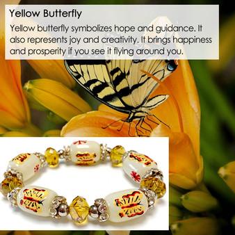 Yellow Butterfly Bracelet - Spring Jewelry for Women - Handmade Glass Beaded Bracelet - Fiona -  BR1323