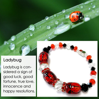 Red Ladybug Bracelet - Spring Jewelry for Daughter - Handmade Glass and Crystals Beaded Bracelet  for Girlfriend  - Fiona -  IUP013LM