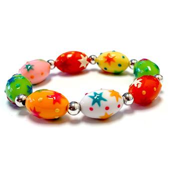 Easter Egg Bracelet for Girls - Spring Jewelry for Daughter - Handmade Resin Beaded Bracelet  for Girlfriend  - Fiona -  IUP514