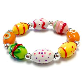 Easter Egg Bracelet for Girls - Spring Jewelry for Daughter - Handmade Resin Beaded Bracelet  for Girlfriend  - Fiona -  IUP515
