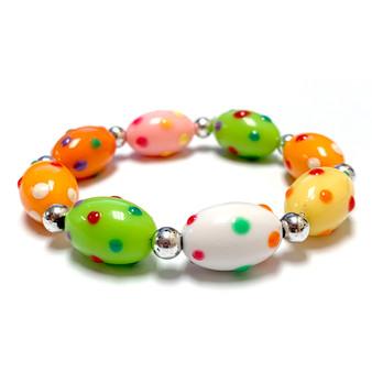 Easter Egg Dots Bracelet for Girls - Spring Jewelry for Daughter - Handmade Resin Beaded Bracelet  for Girlfriend  - Fiona -  IUP516