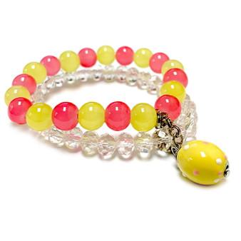 Yellow Easter Egg Charm Bracelet - Charm Bracelet for Girls and Women - Handmade Glass Beaded Bracelet  for Girlfriend  - Fiona -  BR2614G
