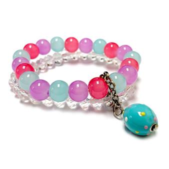 Baby Blue Easter Egg Charm Bracelet - Charm Bracelet for Girls and Women - Handmade Glass Beaded Bracelet  for Girlfriend  - Fiona -  BR2614I