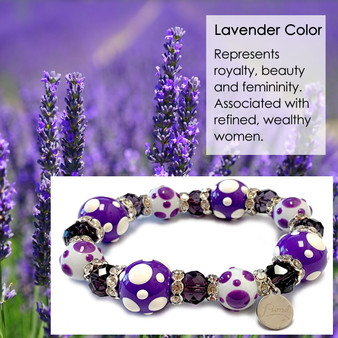 Spring Lavender Purple Polka Dots  Bracelet - Spring Jewelry for Women - Handmade Glass Beaded Bracelet  for Girlfriend  - Fiona -  PD06