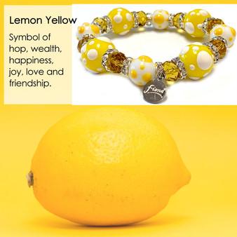 Spring Lemon Yellow Polka Dots  Bracelet - Spring Jewelry for Women - Handmade Glass Beaded Bracelet  for Girlfriend  - Fiona -  PD08