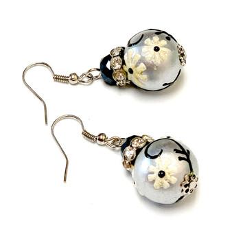 Sprig Black and Silver Flower Earrings -   Spring Jewelry For Her - Handmade Glass Dangle Earrings  for Women - Fiona -  E78
