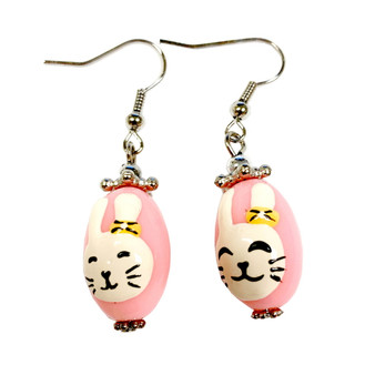 Pink Easter Egg Bunny Earrings -   Easter Egg Earrings for Kids - Handmade Resin Dangle Earrings  for Her - Fiona -  E181A