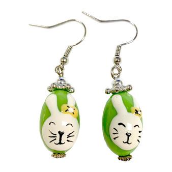 Green Easter Egg Bunny Earrings -   Easter Egg Earrings for Kids - Handmade Resin Dangle Earrings  for Her - Fiona -  E181B