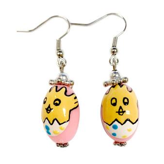 Pink Easter Egg Baby Chick Earrings -   Easter Egg Earrings for Kids - Handmade Resin Dangle Earrings  for Her - Fiona -  E182A