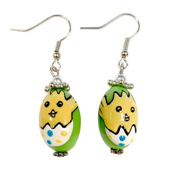 Green Easter Egg Baby Chick Earrings -   Easter Egg Earrings for Kids - Handmade Resin Dangle Earrings  for Her - Fiona -  E182B