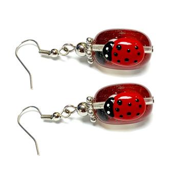 Spring Red Ladybug Earrings -   Spring Earrings for Kids - Handmade Glass Beads Dangle Earrings - Fiona -  E61