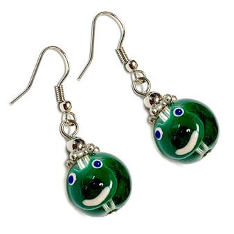 Spring Green Frog Earrings -   Spring Earrings for Kids - Handmade Glass Beads Dangle Earrings - Fiona -  E68