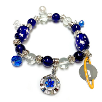 Galaxy Space Cosmo Universe  Astronomy Bracelet - Saturn Charm Bracelet - Miniverse  Bracelet - Handmade Glass Beaded Charm Bracelet  for Women - Fiona -  BR2729