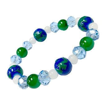 Blue Green Planet Earth Seven Continents Bracelet - Galaxy Space Astronomy Jewelry - Handmade Glass Crystal Beaded Bracelet  for Women - Fiona -  BR2820E