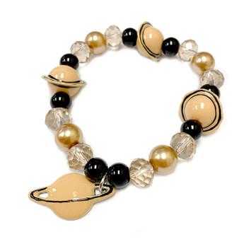 Saturn with Rings Charm Bracelet - Galaxy Space Astronomy Jewelry - Handmade Glass Crystal Beaded Bracelet  for Women - Fiona -  BR2820J