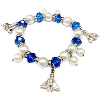 Space Shuttle Endeavor Charm Blue Crystals Bracelet - Galaxy Space Astronomy Jewelry - Handmade Glass Crystal Beaded Bracelet  for Women - Fiona -  BR2823A